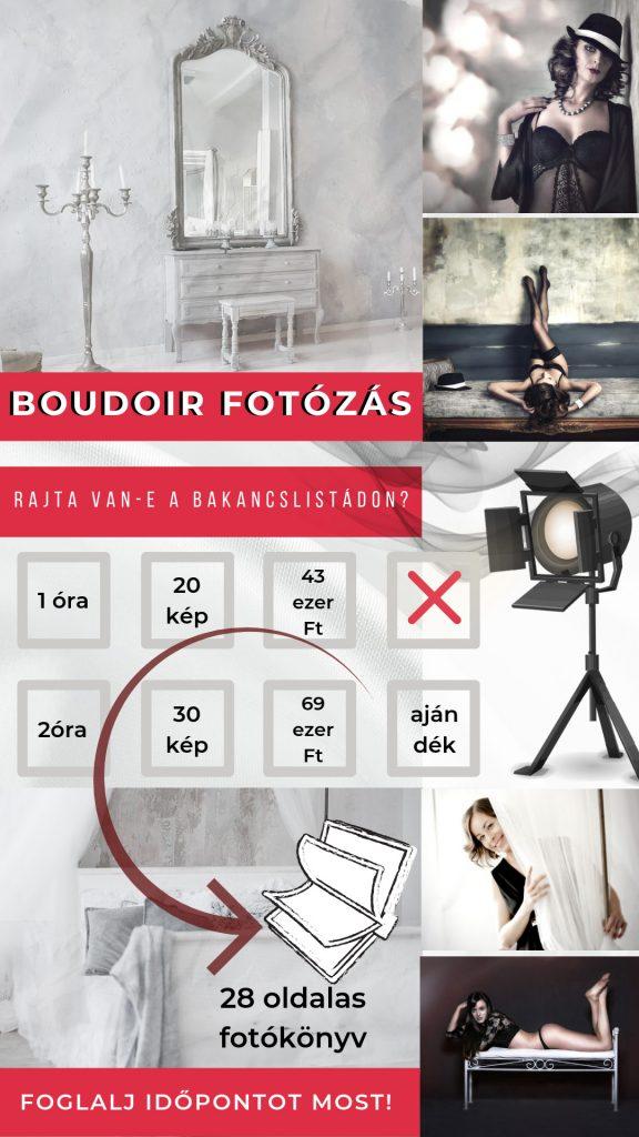 Műtermi fotózás, boudoir fotózás árak